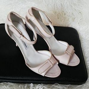 Leather mid heel sandals